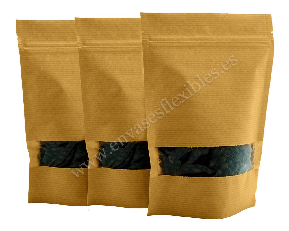 Bolsas de papel a rayas marrones con ventana rectangular