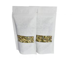 bolsa de papel blanco con ventana rectangular
