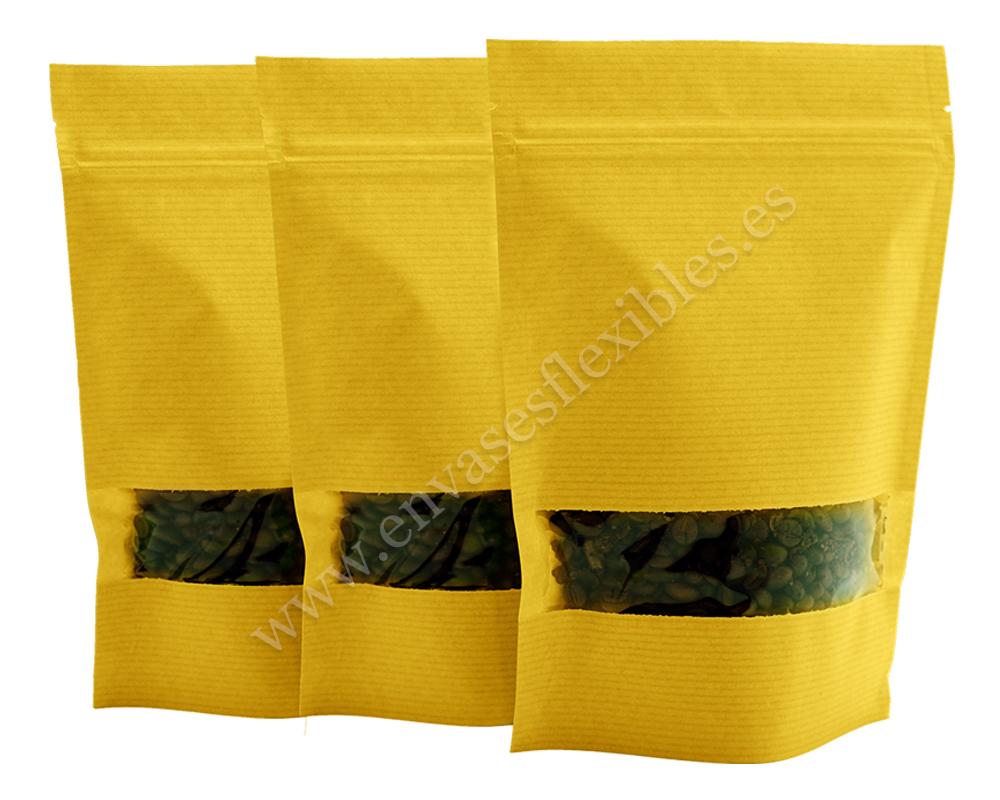 Bolsas de papel a rayas amarillas con ventana rectangular